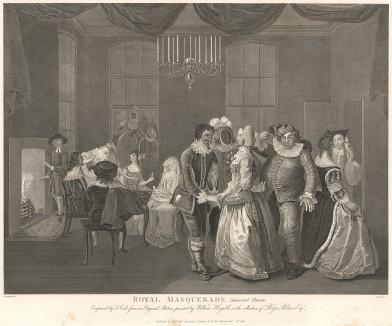 Королевский маскарад в Сомерсет Хауc, 1755. Русский посол в Лондоне граф Чернышев дает бал-маскарад в Сомерест Хаус по случаю рождения цесаревича Павла I. Присутствуют король Англии Георг II, принц и принцесса Уэльсские, принц Эдвард. Лондон, 1838