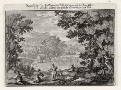 Руфь собирает колосья на поле Вооза (из Biblisches Engel- und Kunstwerk -- шедевра германского барокко. Гравировал неподражаемый Иоганн Ульрих Краусс в Аугсбурге в 1700 году)