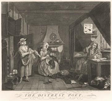 Бедствующий поэт, 1736. Единственный портрет Льюиса Теобальда (1688-1744), издателя и редактора Шекспира, автора сатирических тестов и критика Александра Поупа (тот в отместку сделал его прототипом Тиббальда в «Профанаде»). Лондон, 1838
