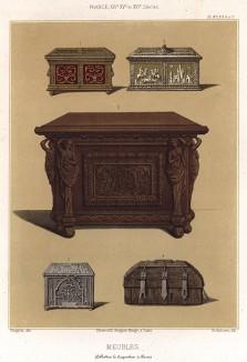 Дубовые сундуки в XIV--XVI вв., скреплённые деревянными гвоздями - нагелямим (из Les arts somptuaires... Париж. 1858 год)