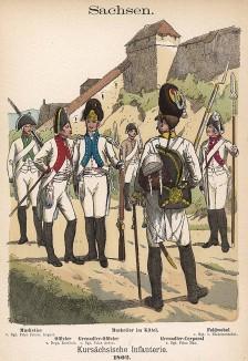 Униформа саксонской пехоты в 1802 г. Uniformenkunde Рихарда Кнотеля, л.29. Ратенау (Германия), 1890