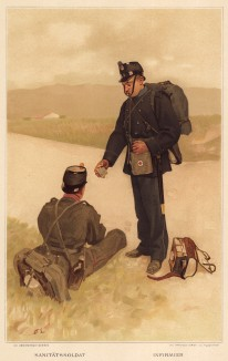 Санитар швейцарской пехоты (из альбома хромолитографий L' Armée Suisse... Цюрих. 1894 год)