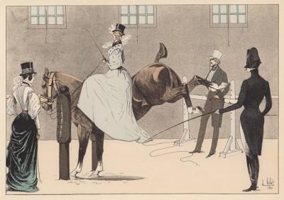 """Дама на занятиях по верховой езде в закрытом манеже (из """"Иллюстрированной истории верховой езды"""", изданной в Париже в 1891 году)"""