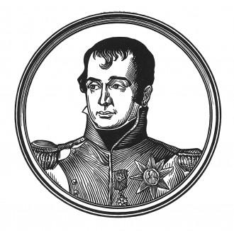 """Луи Бонапарт (1778—1846) — брат Наполеона I, отец Наполеона III и король Голландии. В 1808 г. основал Королевский институт наук, литературы и изящных искусств (ныне Королевская Нидерландская академия наук). Илл. к пьесе С.Гитри """"Наполеон"""", 1955"""