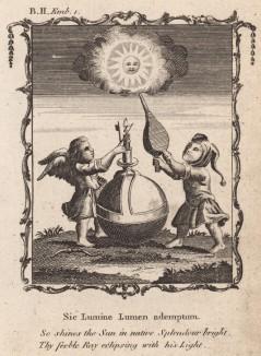 """Так сияет солнце в мире (из бестселлера XVII -- XVIII веков """"Символы божественные и моральные и загадки жизни человека"""" Фрэнсиса Кварльса (лондонское издание 1788 года))"""