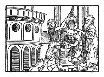 Ритуальное омовение. Иллюстрация Йорга Бреу Старшего к описанию путешествия на восток Лодовико ди Вартема: Ludovico Vartoman / Die Ritterliche Reise. Издал Johann Miller, Аугсбург, 1515