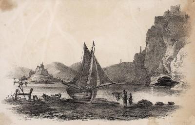 Пейзаж с английской рыбацкой деревушкой