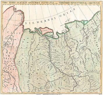 Часть Ледяного моря с устьем реки Лены и северною частью Якутского уезда. Atlas Russicus mappa una generali ... Petropolitanae, Санкт-Петербург, 1745.