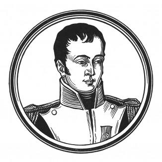 """Жером Бонапарт (1784—1860) — младший брат Наполеона I, лейтенант флота, принц империи (1804), король Вестфалии, пэр (1814) и маршал Франции (1850). Наследник французского престола в 1853-56 гг. Илл. к пьесе С.Гитри """"Наполеон"""", Париж, 1955"""