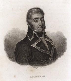 Пьер-Франсуа-Шарль Ожеро (1757-1816). Служил с 17 лет солдатом в армиях Франции, Пруссии, Саксонии и Неаполя. В 1792 г. вступил в батальон волонтёров французской революционной армии. Подавлял Вандейский мятеж. В 1793 г. совершил головокружительную карьеру