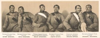 Нижние чины русской артиллерии и пехоты, отличившиеся во время бомбардировки Одессы англо-французской эскадрой 10 апреля 1854 года (Русский художественный листок. № 23 за 1854 год)