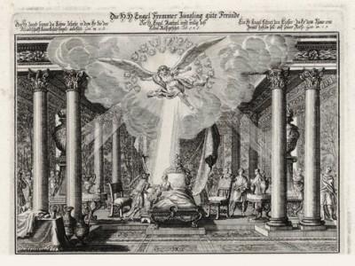 Товий у ложа умирающего отца (из Biblisches Engel- und Kunstwerk -- шедевра германского барокко. Гравировал неподражаемый Иоганн Ульрих Краусс в Аугсбурге в 1694 году)