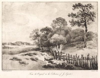 Пейзаж с изгородью. Гравюра с рисунка знаменитого английского пейзажиста Томаса Гейнсборо из коллекции Дж. Лапорта. A Collection of Prints ...of Tho. Gainsborough, Лондон, 1819.