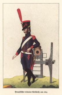 Французский артиллерист у полевого орудия в 1804 году. Из популярной в нацистской Германии работы Мартина Лезиуса Das Ehrenkleid des Soldaten. Берлин, 1936