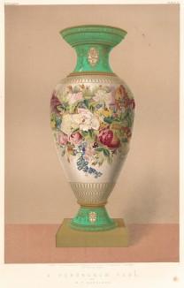 Фарфоровая ваза, украшенная цветочным орнаментом от именитой британской фирмы W.T. Copeland (Каталог Всемирной выставки в Лондоне. 1862 год. Том 1. Лист 4)
