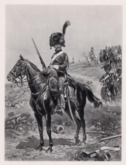 """1806 год. Гвардейские конные егеря из эскорта императора Наполеона (иллюстрация к известной работе """"Кавалерия Наполеона"""", изданной в Париже в 1895 году)"""