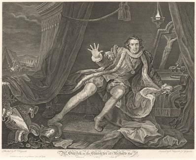 """Гаррик в образе Ричарда III, 1745. Дэвид Гаррик (1717-79), английский актер, драматург, директор придворного театра """"Друри Лейн"""" и друг Хогарта. Портрет актера в самой известной роли полон экспрессии и точно передает стиль игры Гаррика. Лондон, 1838"""