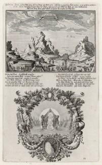 1. Аарон и Моисей 2. Столб облака на том месте, где Бог говорил с Моисеем (из Biblisches Engel- und Kunstwerk -- шедевра германского барокко. Гравировал неподражаемый Иоганн Ульрих Краусс в Аугсбурге в 1700 году)