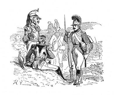 15 октября 1813 г. император Наполеон прибывает в Лейпциг. В городе сосредоточены французские войска под командованием Виктора, Ожеро и Лористона. Но 16 октября Лейпциг окружен войсками союзников. Histoire de l'empereur Napoléon, Париж, 1840