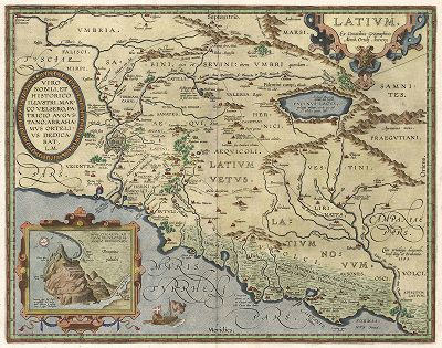 Карта итальянской области Лацио.  Latium. Составил Абрахам Ортелий для Theatrum Orbis Terrarum Abrahami Ortelii. Антверпен, 1612