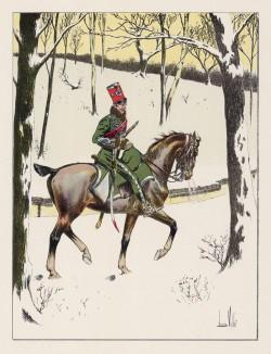 """Офицер Гвардии чести в зимней полевой форме образца 1814 года. Илл. к работе """"Императорская гвардия в 1804-1815 гг."""" Париж, 1901. Экз. №303 из 606 принадлежал голландскому генералу H.J.Sharp (1874-1957)"""