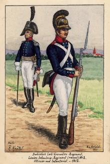1812 г. Солдат и офицер лейб-гренадерского полка Великого герцогства Баден. Коллекция Роберта фон Арнольди. Германия, 1911-29
