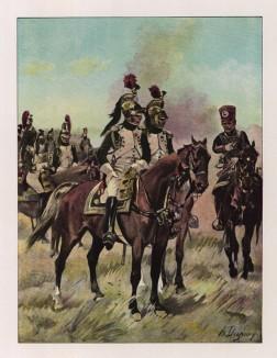"""Гвардейские драгуны в парадной форме (иллюстрация к работе """"Императоская Гвардия в 1804--1815 гг."""" Париж. 1901 год. (экземпляр № 303 из 606 принадлежал голландскому генералу H. J. Sharp (1874 -- 1957))"""