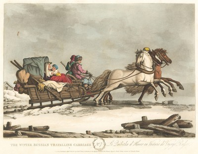 Русская тройка. A Picture of St. Petersburgh, Represented in a Collection of Twenty Interesting Views of the City, the Sledges, and the Рeople… Taken on the Spot, at the Twelwe Different Months of the Year. Л.7. Лондон, 1815
