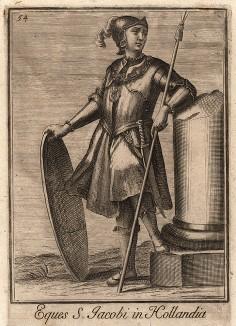 Рыцарь ордена Святого Иакова, основанного в Голландии в 1290 г. Catalogo degli ordini equestri, e militari еsposto in imagini, e con breve racconto. Рим, 1741