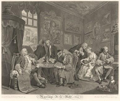 Модный брак, гравюра 1. «Брачный контракт», 1745. Трагическая история брака по расчету. Серию полотен Хогарт выполнил в 1742-44 гг. Для создания по ним графических оттисков художник ездил во Францию в поисках лучших гравёров. Лондон, 1838