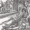 """Далила отрезает волосы Самсону (иллюстрация к книге """"Рыцарь Башни"""", гравированная Дюрером в 1493 году)"""