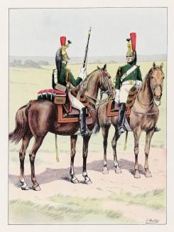 """Гвардейские драгуны (унтер-офицер и рядовой) (иллюстрация к работе """"Императоская Гвардия в 1804--1815 гг."""" Париж. 1901 год. (экземпляр № 303 из 606 принадлежал голландскому генералу H. J. Sharp (1874 -- 1957))"""