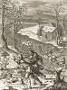 """Охота на оленей. Сюжет книги III """"Георгик"""" Вергилия. Лист подписного издания посвящён эсквайеру Джону Дормеру (1611--1679) -- члену английского Парламента"""