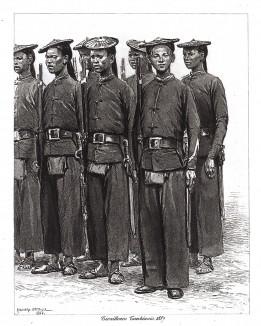 Стрелки кохинхинской (вьетнамской) пехоты в 1887 г. Types et uniformes. L'armée françáise, par Éduard Detaille. Париж, 1889