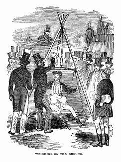 Взвешивание для определения категории спортсмена, принимающего участие в стипл-чейзе, проводимом в графстве Нортгемптоншир -- скачках по пересечённой местности до заранее условленного пункта (The Illustrated London News №101 от 06/04/1844 г.)