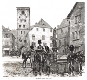 Жандармы императорской гвардии Наполеона I (из Types et uniformes. L'armée françáise par Éduard Detaille. Париж. 1889 год)