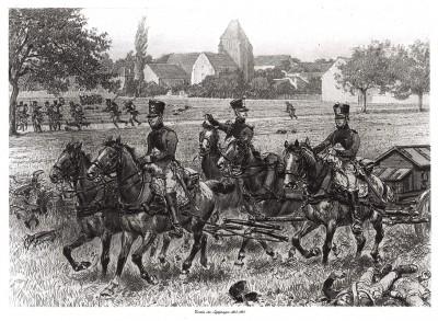 Французские обозники в 1815 году (из Types et uniformes. L'armée françáise par Éduard Detaille. Париж. 1889 год)