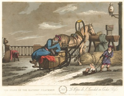 Отдых ямщика. A Picture of St. Petersburgh, Represented in a Collection of Twenty Interesting Views of the City… л.1. Лондон, 1815