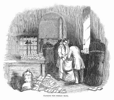 Упаковка почты, приготовленной для отправления в Британскую Индию в главном почтовом управлении Великобритании во второй четверти XIX века (The Illustrated London News №112 от 22/06/1844 г.)