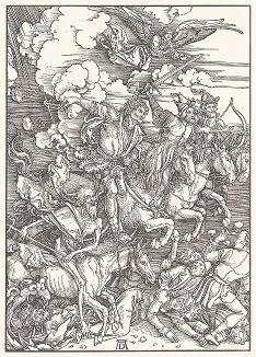 """Четыре всадника Апокалипсиса. Ксилография, выполненная по гравюре Альбрехта Дюрера 1498 года из издания """"Albrecht Dürer. Sein Leben und einer Auswahl seiner Werke"""", Мюнхен, 1910 год"""
