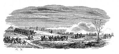Австрийская кампания 1805 г. Поле битвы под Аустерлицем. Сражение закончено. Французские войска меняют дислокацию. Histoire de l'empereur Napoléon. Париж, 1840
