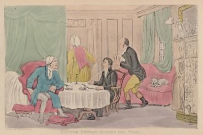 """Доктор Синтакс пишет завещание. Иллюстрация Томаса Роуландсона к поэме Вильяма Комби """"Путешествие доктора Синтакса в поисках живописного"""". Лондон, 1881"""