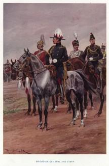 Английский бригадный генерал со штабом (иллюстрация к His Magesty's Territorial Army... Лондон. 1911 год)