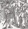 """Рыцарь повелевает двум писарям и двум священникам сделать книгу по этим образцам (титульный лист книги """"Рыцарь Башни"""", гравированный Дюрером в 1493 году)"""