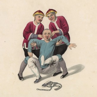"""Наказание, предусматривающее многократный подъём человека за уши и удары о землю пятой точкой (лист 5 устрашающей работы """"Китайские наказания"""", изданной в Лондоне в 1801 году)"""
