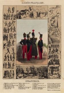 Пехотинцы эпохи Реставрации Бурбонов, а также 27 миниатюр французских воинов, бившихся в пешем строю с древнейших времён и до наших дней (из Esquisses historiques... de l'armée francaise генерала Амбера. Брюссель. 1841 год)