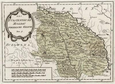 Княжество Молдавия. Des Furstenthums Moldau noerdliche haelfte. Атлас Франца Иоганна фон Райли, л.9. Вена, 1789