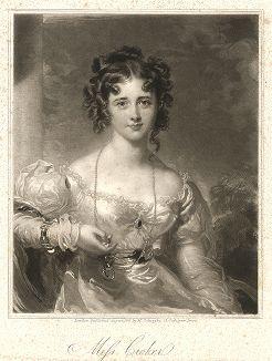 Мисс Розамунда Крокер. Меццо-тинто Самьюэла Казинса с оригинала сэра Томаса Лоуренса.