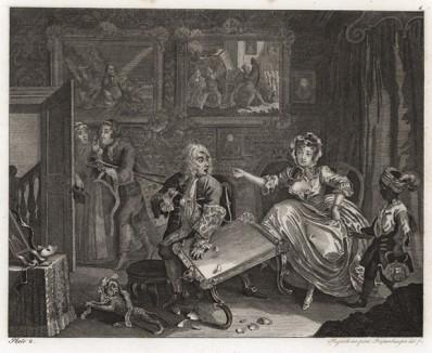 Карьера шлюхи, гравюра 2. «Ссора с богатым покровителем», 1732. Молл живет на содержании у богатого еврея и изменяет ему с молодым любовником. На гравюре: девушка устраивает сцену хозяину, пока ее любовник убегает. Геттинген, 1854