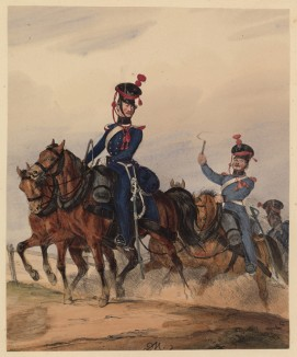 Обоз на марше (армия королевства Вюртемберг) (литография из Das Koniglich Wurttembergische Militair... Вюрцбург. 1840 год)